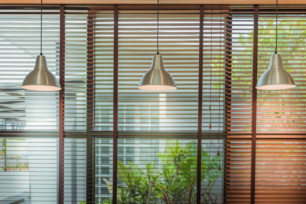 window shutters and light fixtures