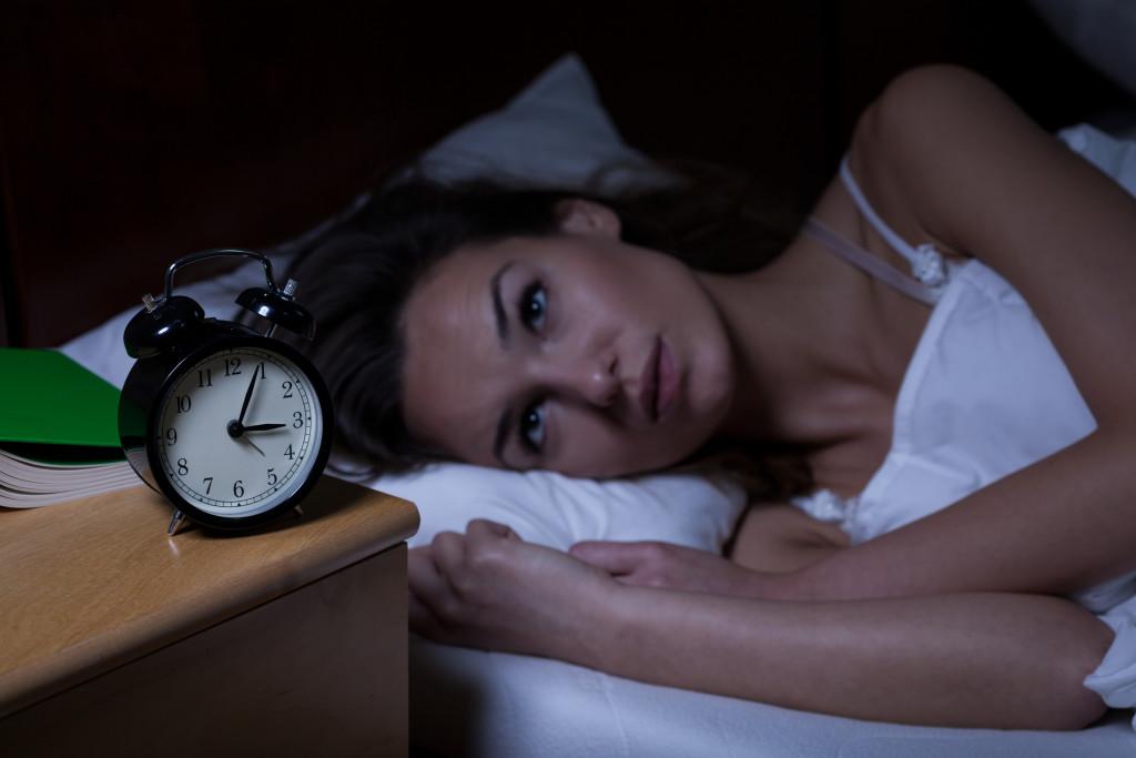 woman wide awake eyes open